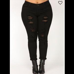 NWT Curvy Plus SZ 3X Black Distressed Jeans